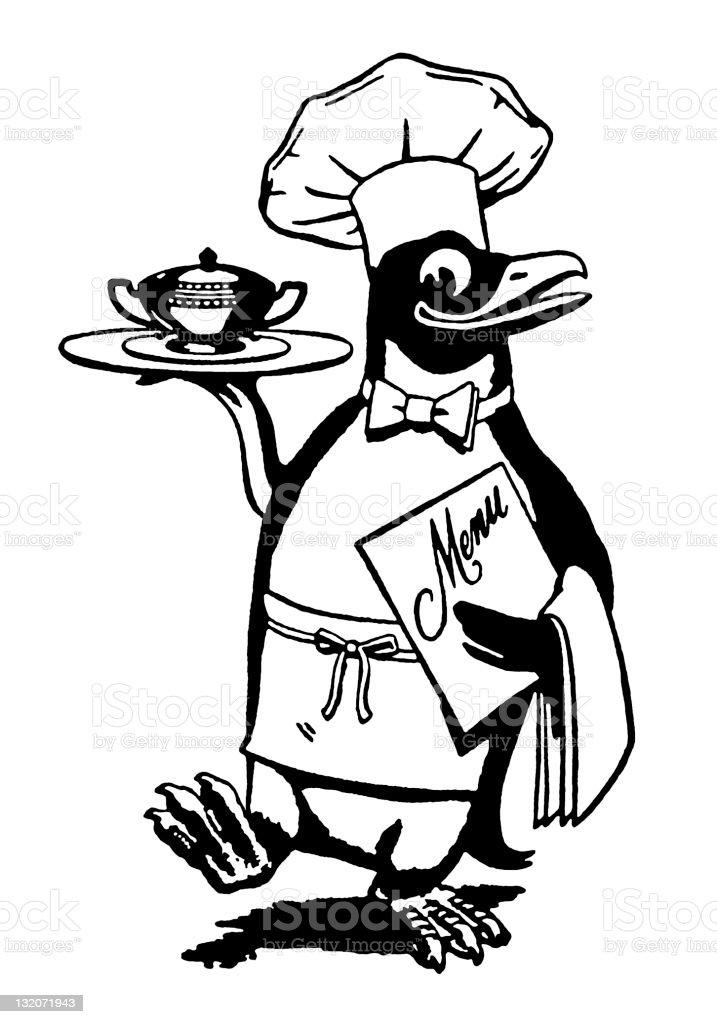 Penguin Chef vector art illustration