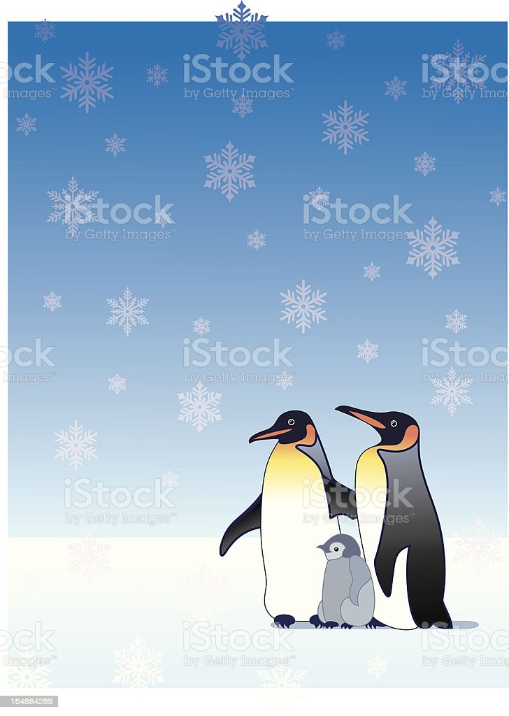 Penguin family vector art illustration