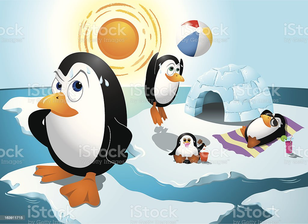 Penguins and Global Warming vector art illustration