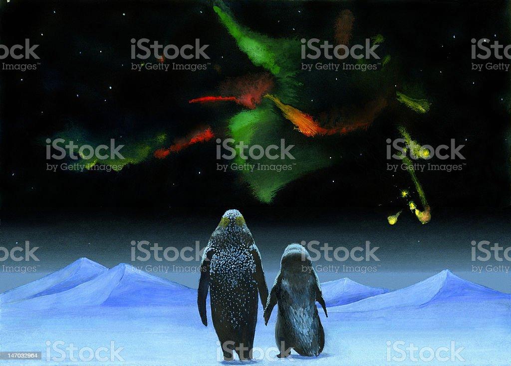 penguins pair royalty-free stock vector art