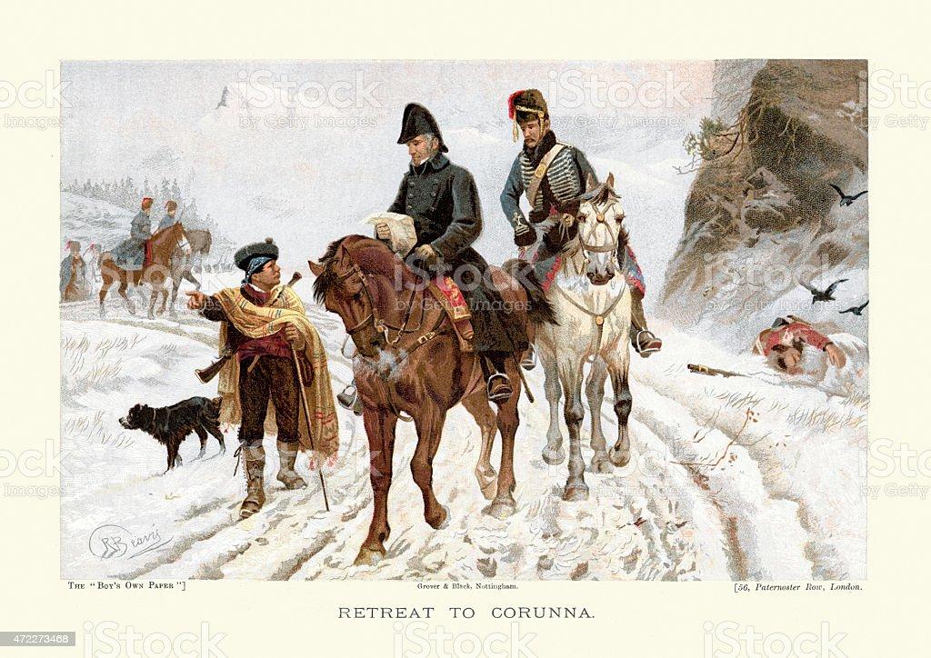 Peninsular War the Retreat to Corunna vector art illustration