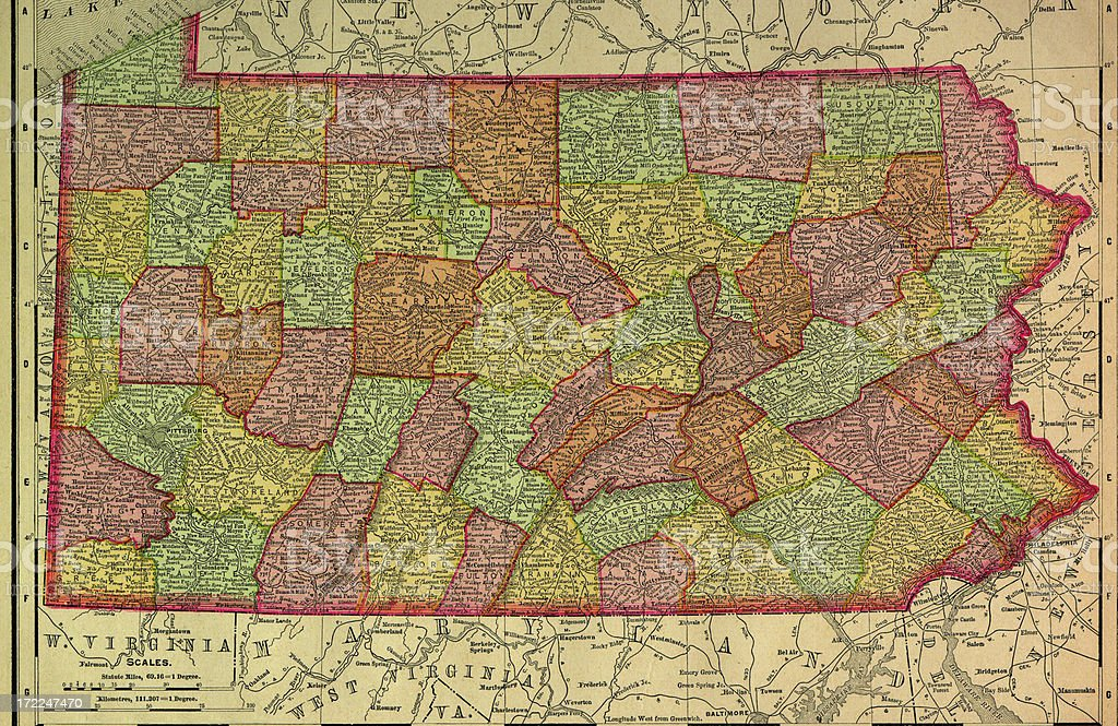 Pennsylvania Old Map royalty-free stock vector art