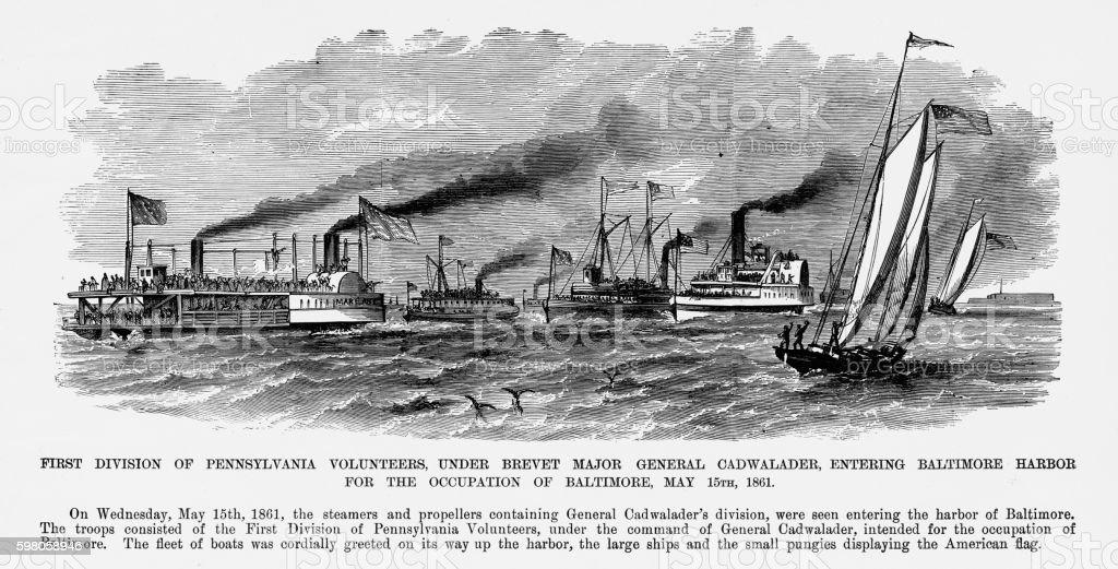 Pennsylvania Volunteers Entering Baltimore Harbor, 1861 Civil War Engraving vector art illustration