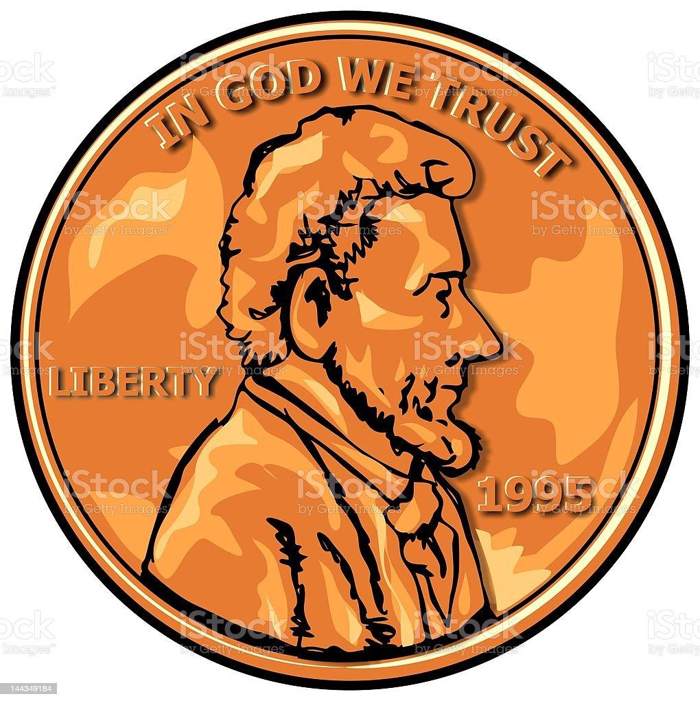 US Penny vector art illustration
