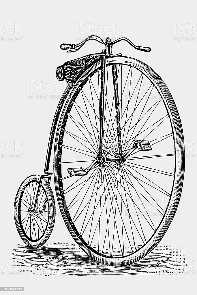 Penny-farthing vector art illustration