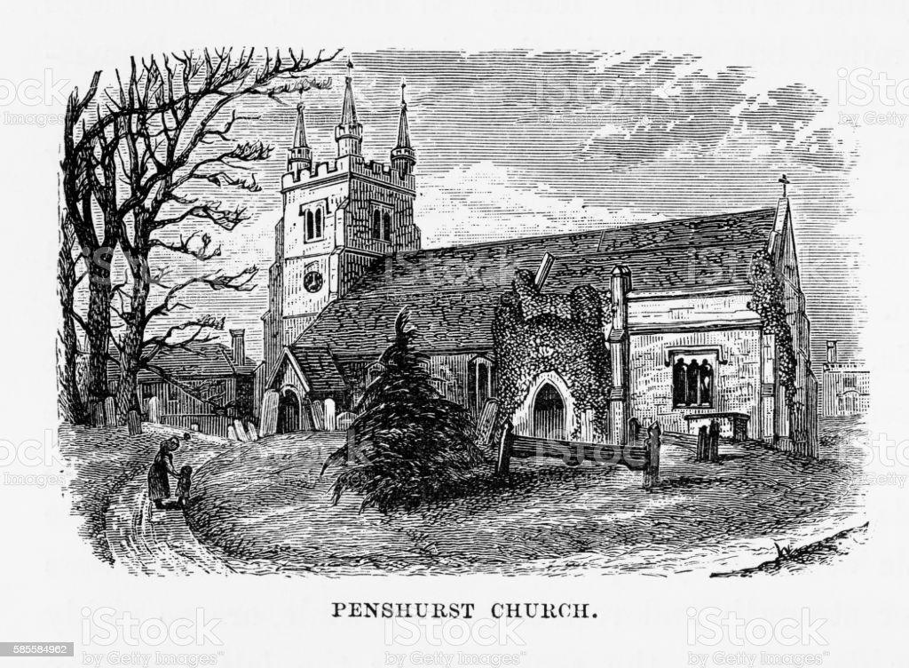 Penshurst Church, in Penshurst, England Landmarks Victorian Engraving, 1840 vector art illustration