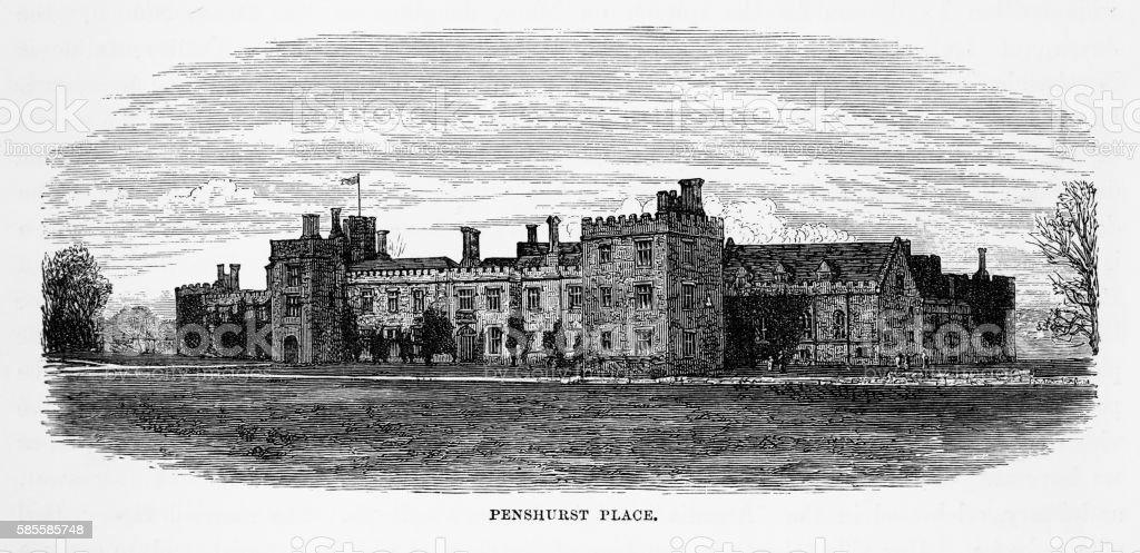 Penshurst Place, in Penshurst, England Landmarks Victorian Engraving, 1840 vector art illustration