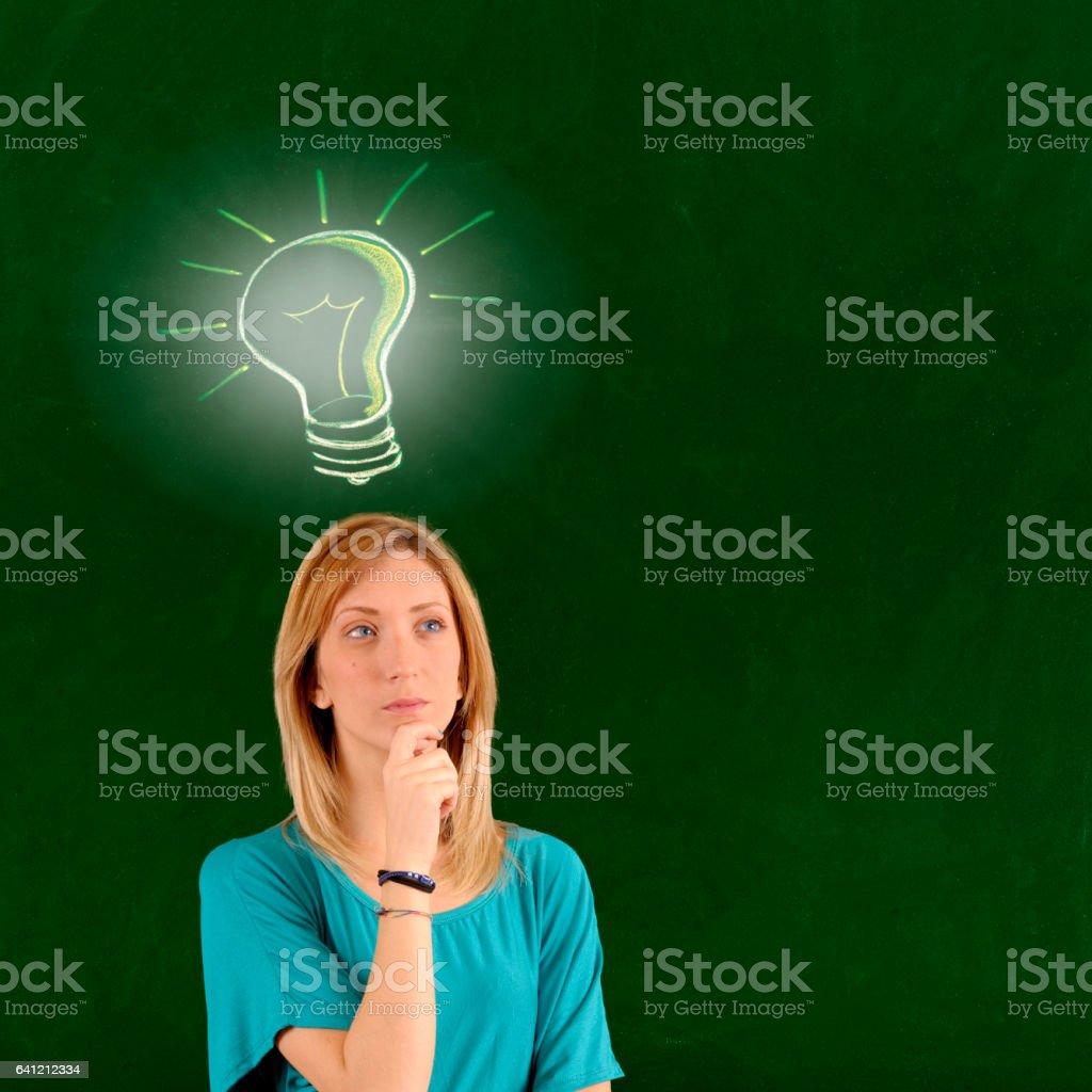 Pensive woman with a big idea vector art illustration