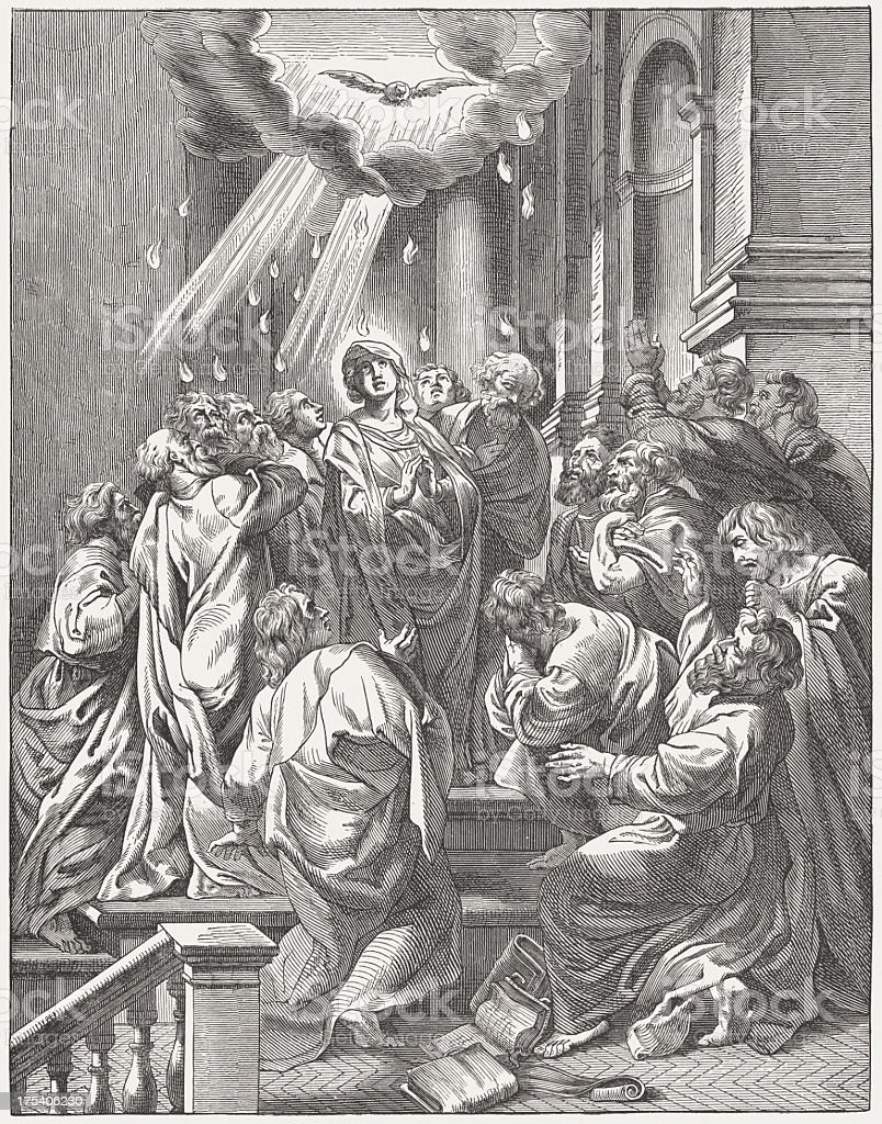 Pentecost (Acts 2, 1-4), wood engraving, published c. 1880 royalty-free stock vector art