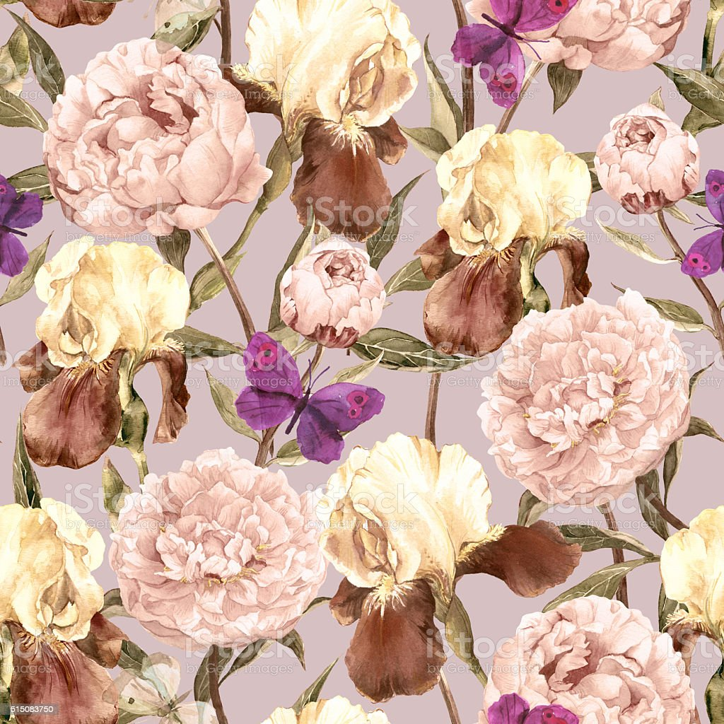 Peonies, irises and butterflies. Retro seamless background. Floral pattern. Watercolor vector art illustration