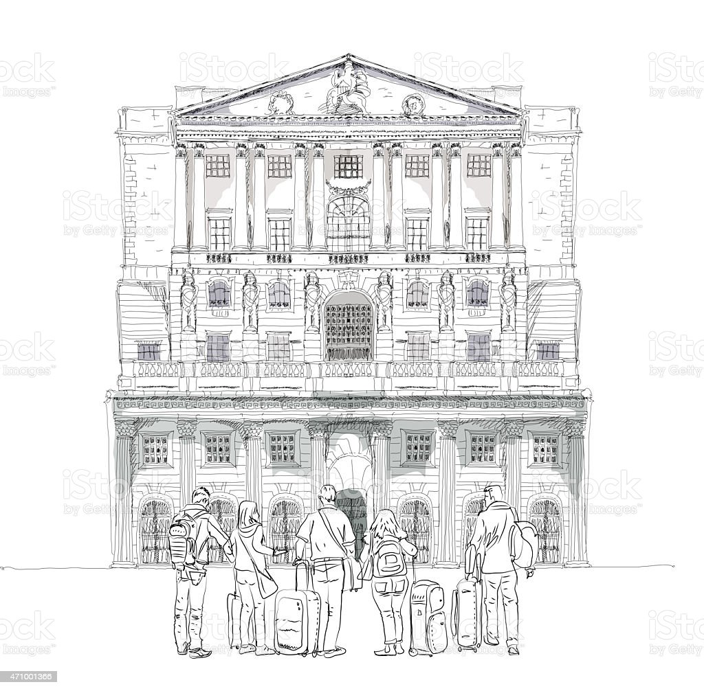 People and tourists on the London streets, Sketch collection vector art illustration