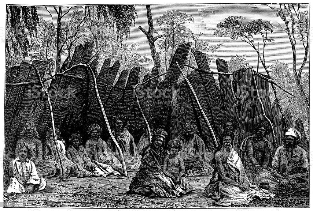 People and traditions of the World: Australians vector art illustration