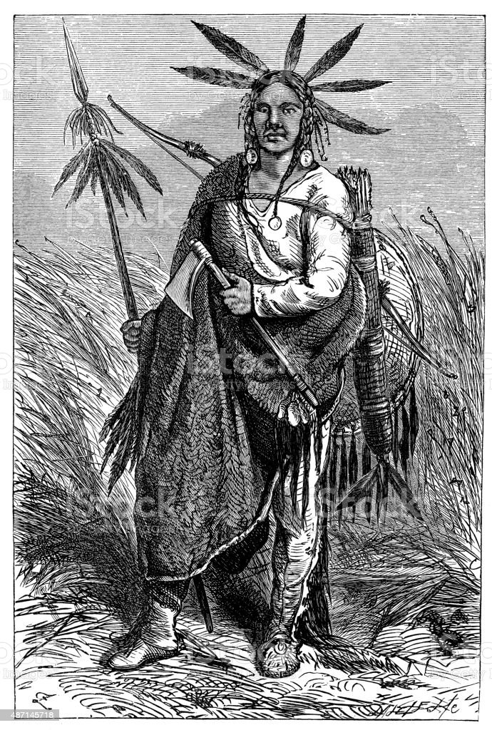 People and traditions of the World: Cheyenne Indian chief vector art illustration
