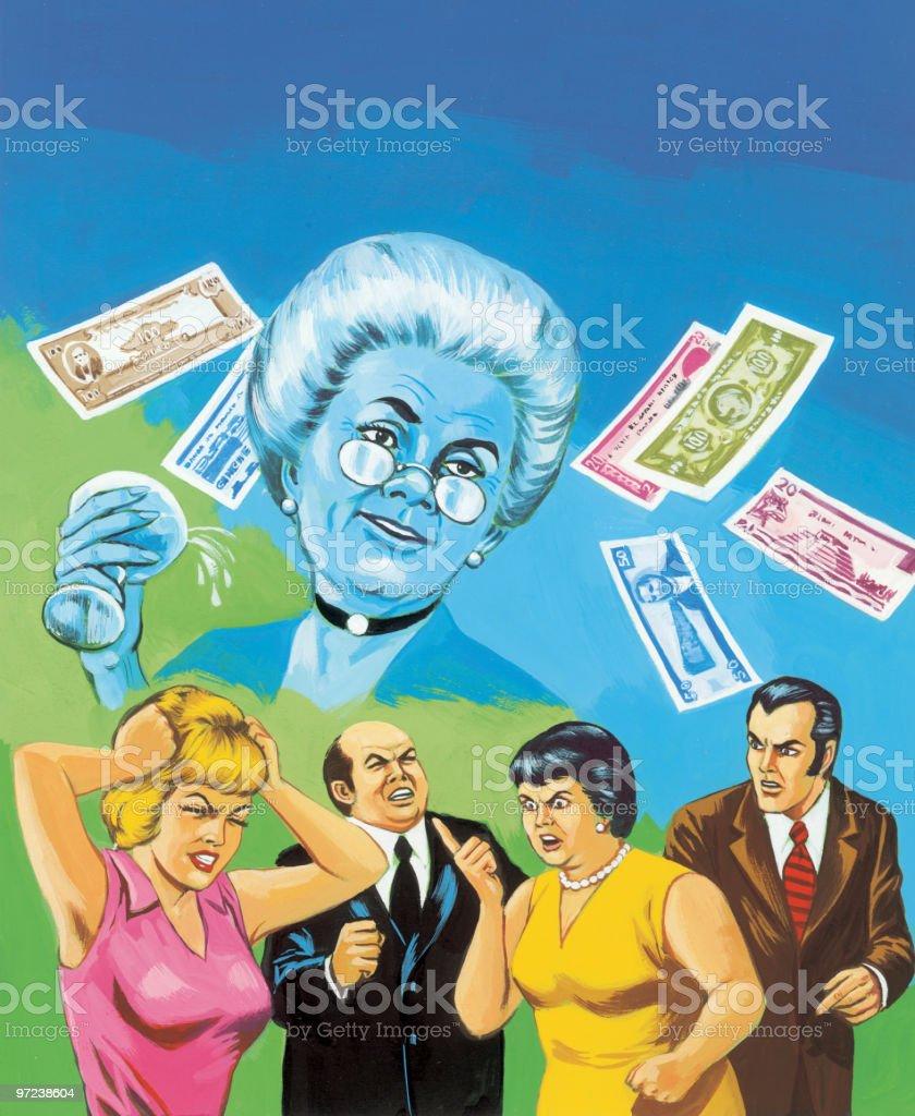 People Arguing Over Money vector art illustration
