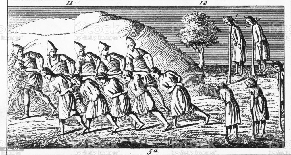 People Being Hung in an 8th Century Engraving stock photo