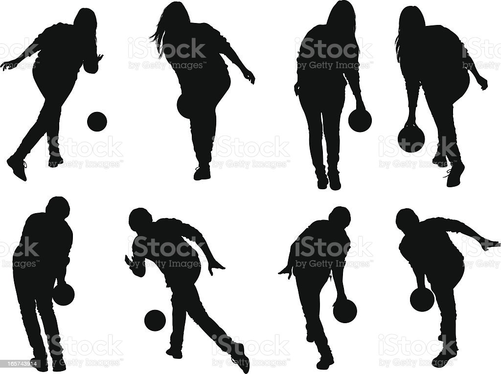 People bowling royalty-free stock vector art