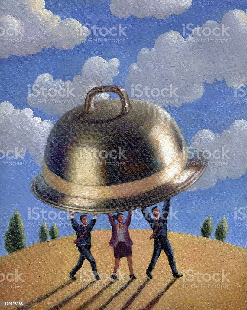people carrying a silver platter vector art illustration