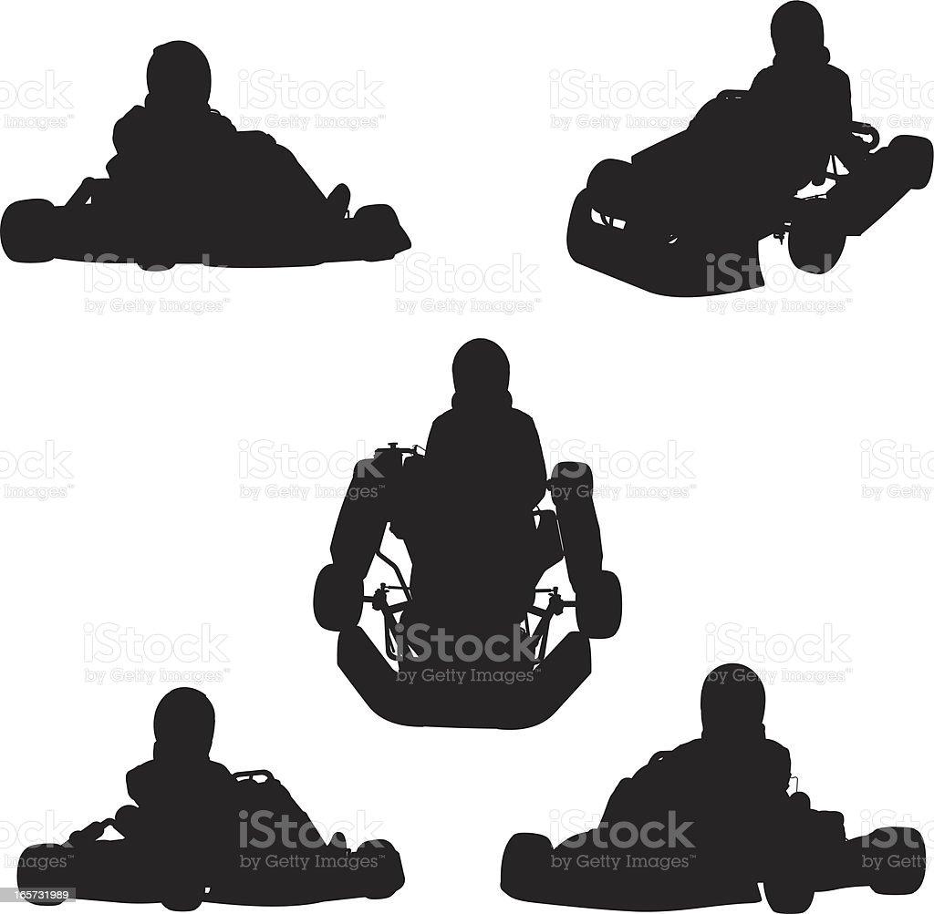 People driving go-kart vector art illustration