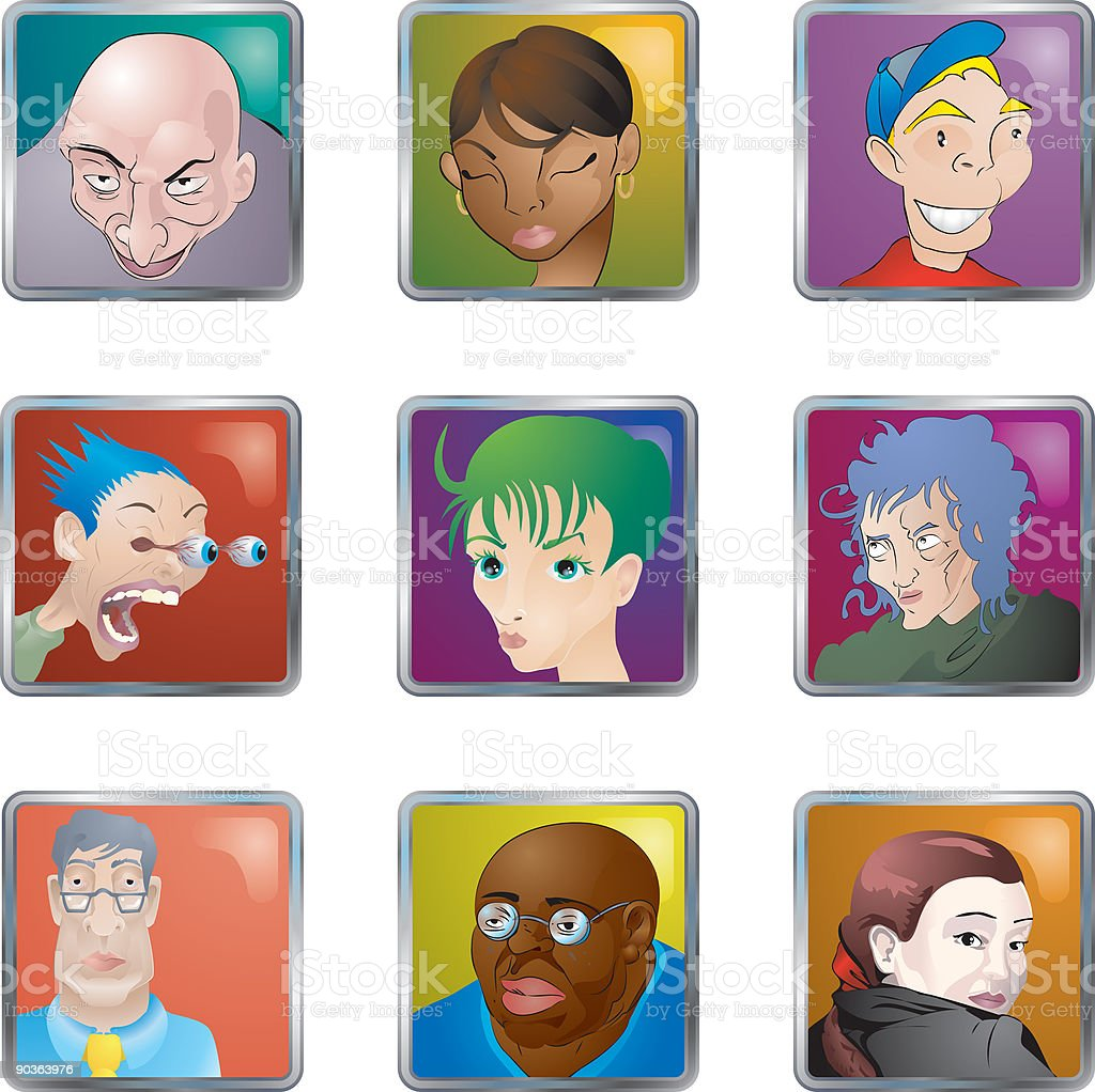 People Faces Icons Avatars royalty-free stock vector art