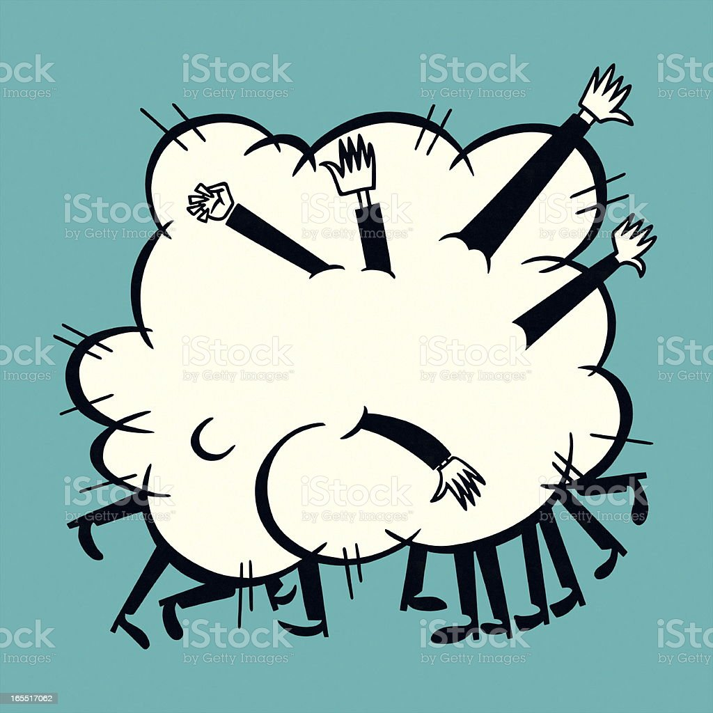 People Fighting in a Cloud royalty-free stock vector art