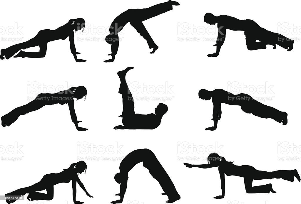 People Holding Yoga Poses Push Up Position stock vector art ...