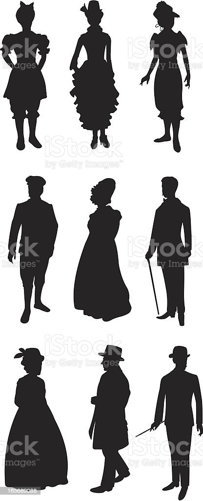 People in 19th century style dress vector art illustration