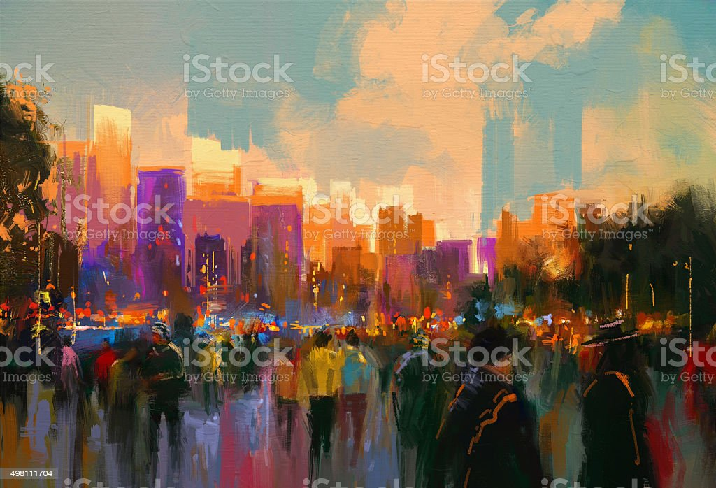 people in a city park at sunset vector art illustration