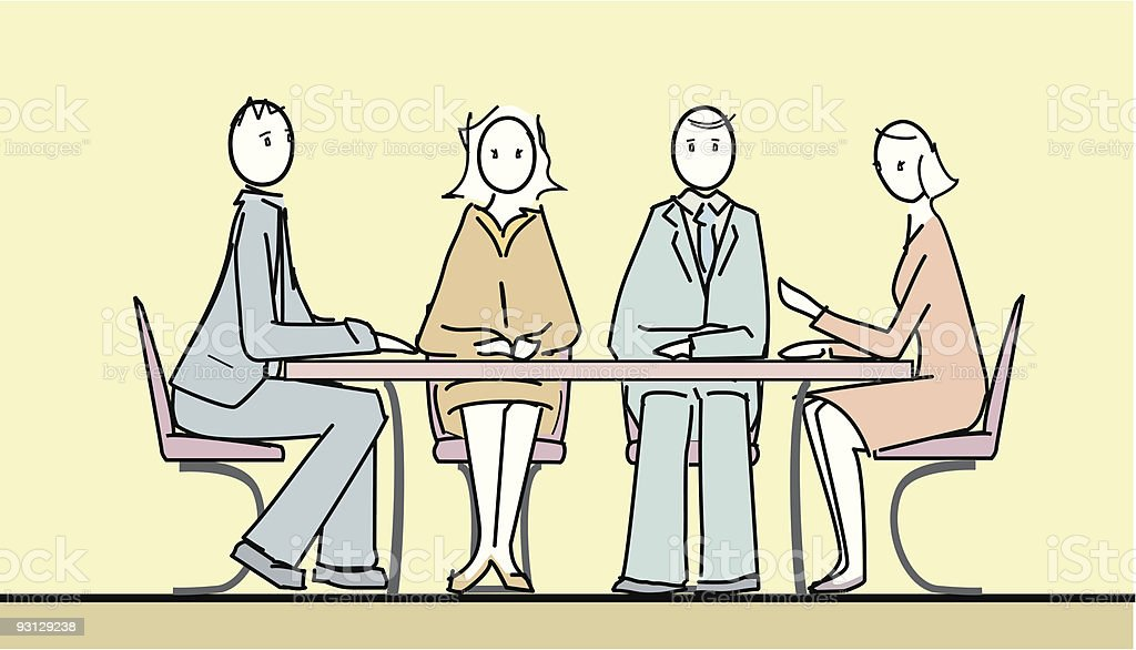 People in a meeting vector art illustration