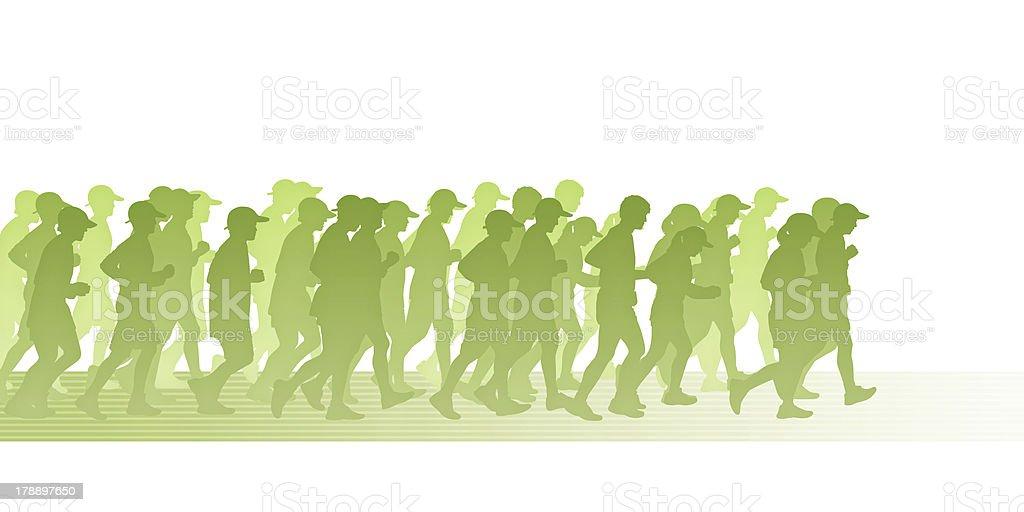 people in green movement vector art illustration