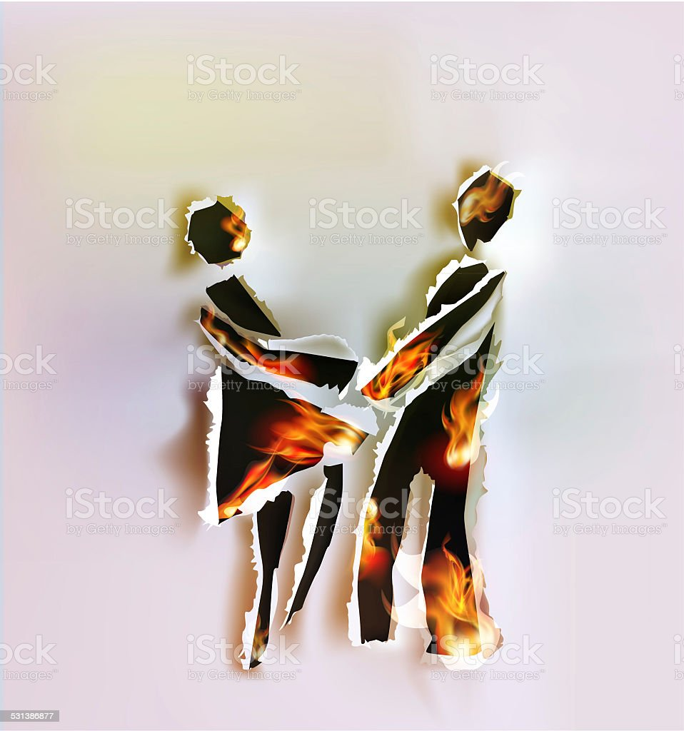 People in love abstract background, Ripped paper and flames vector art illustration