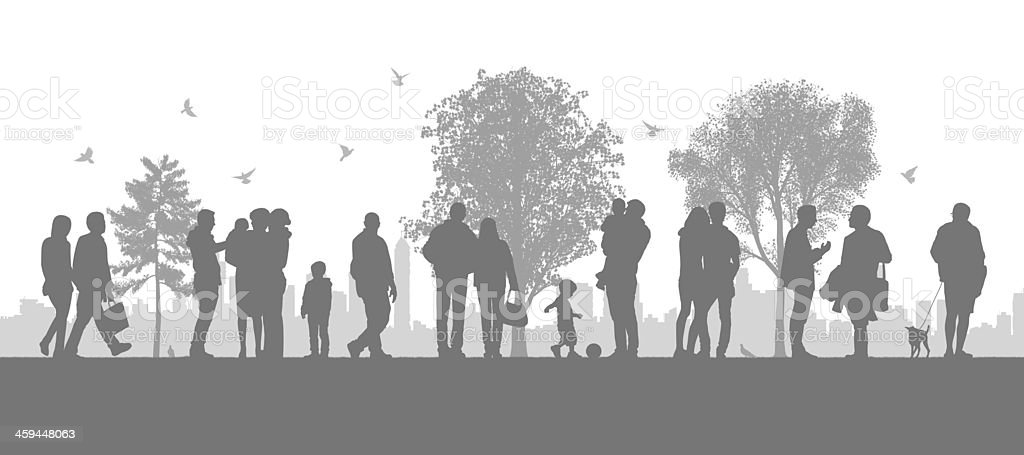 people in the city parc vector art illustration