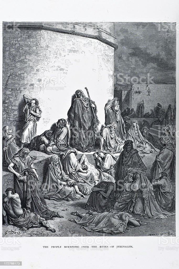 People mourning over the ruins of Jerusalem vector art illustration