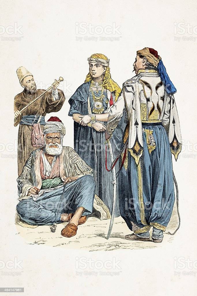 People of Damascus Syria in traditional clothing 1870 vector art illustration