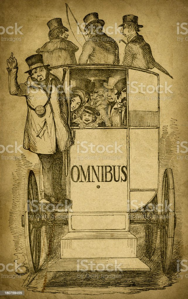 People on a horse drawn omnibus (1843 engraving) vector art illustration