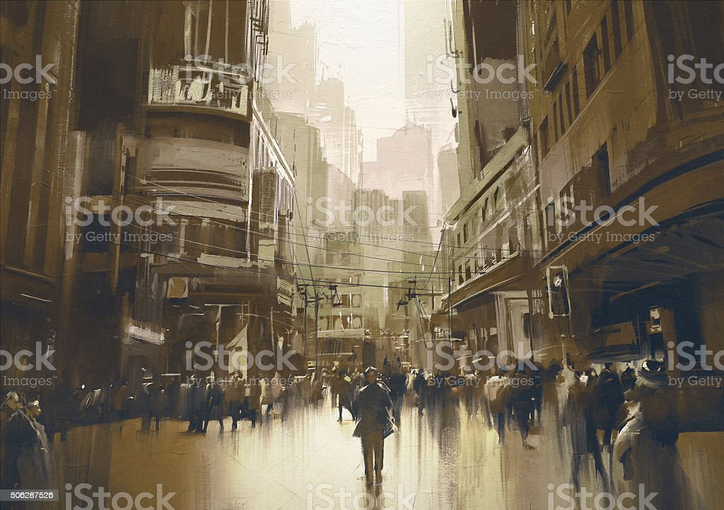 people on street in city,cityscape painting with vintage style vector art illustration