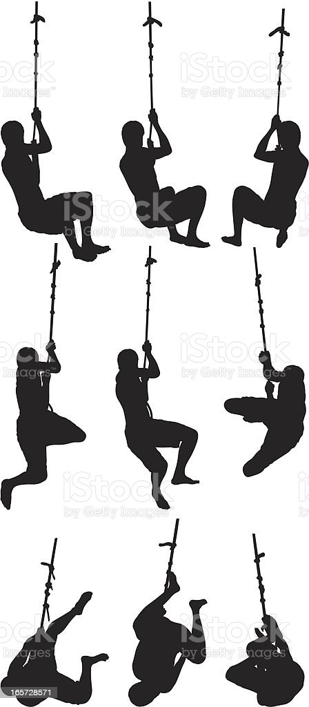 People playing on a rope swing royalty-free stock vector art