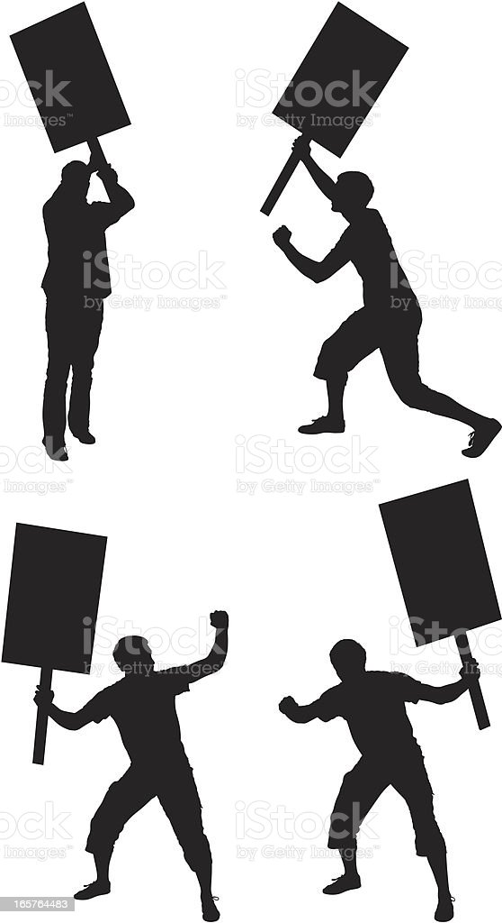 People protesting with picket signs vector art illustration