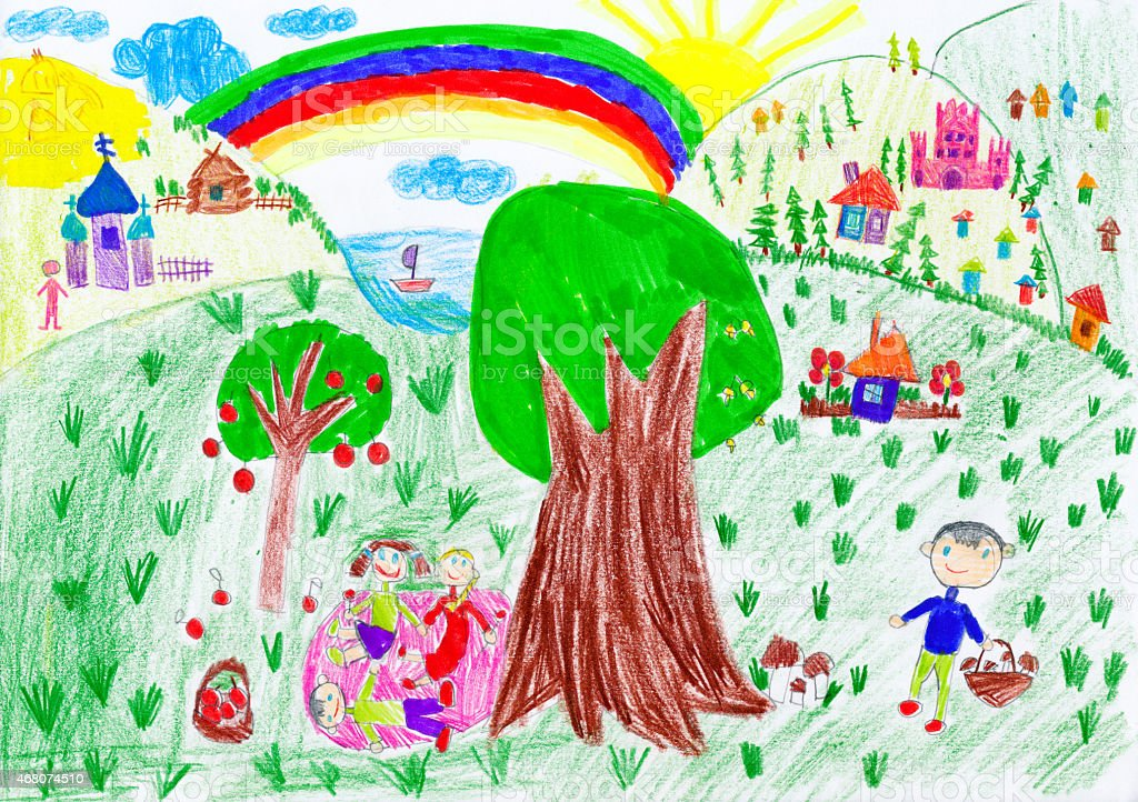 people relax on meadow near the village. child drawing vector art illustration