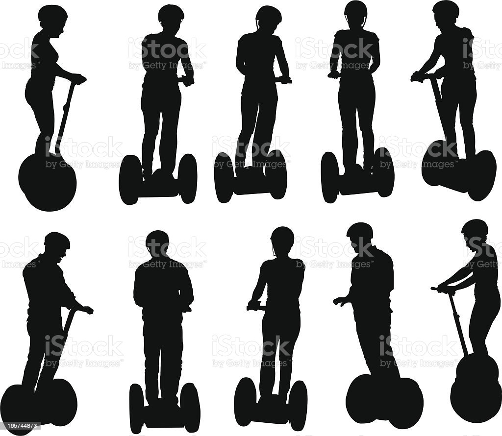 People riding around on segways royalty-free stock vector art
