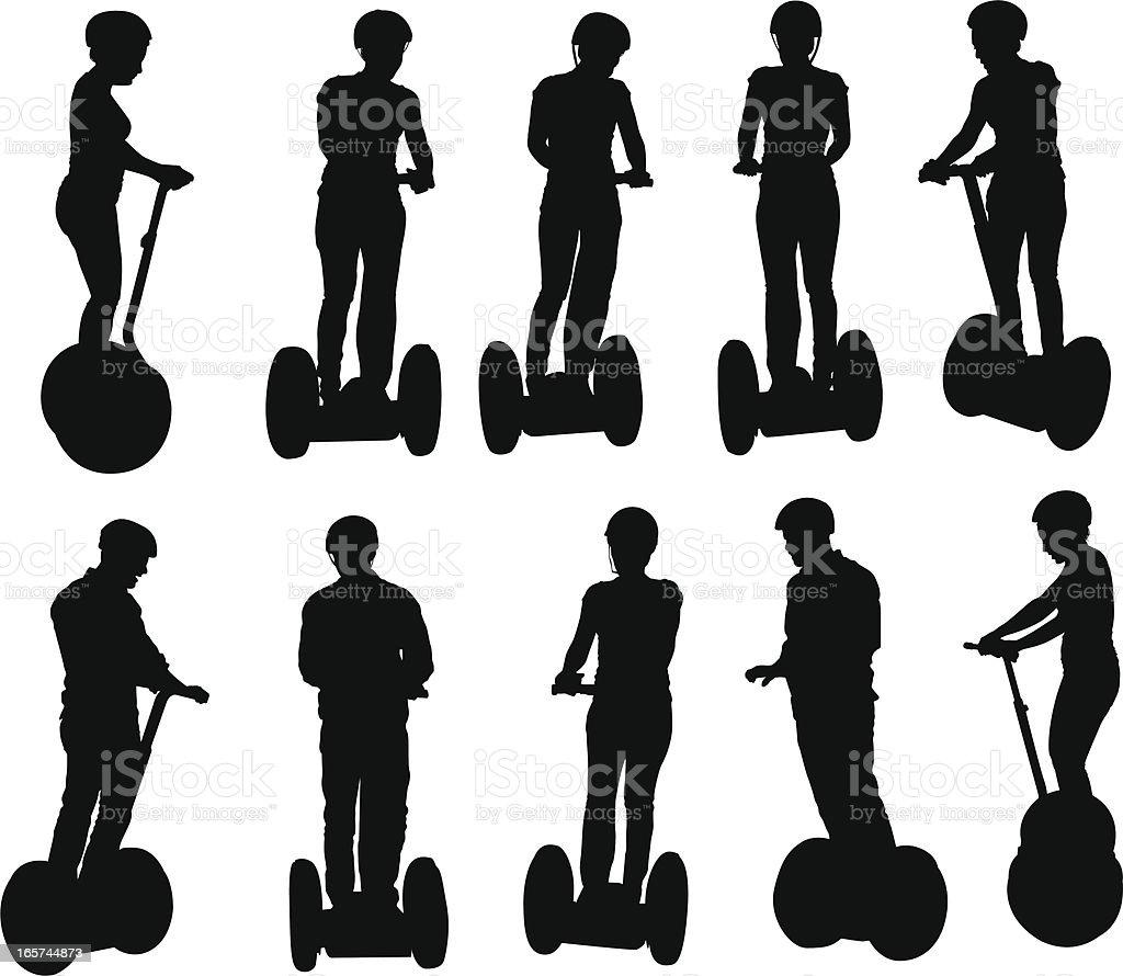 People riding around on segways vector art illustration