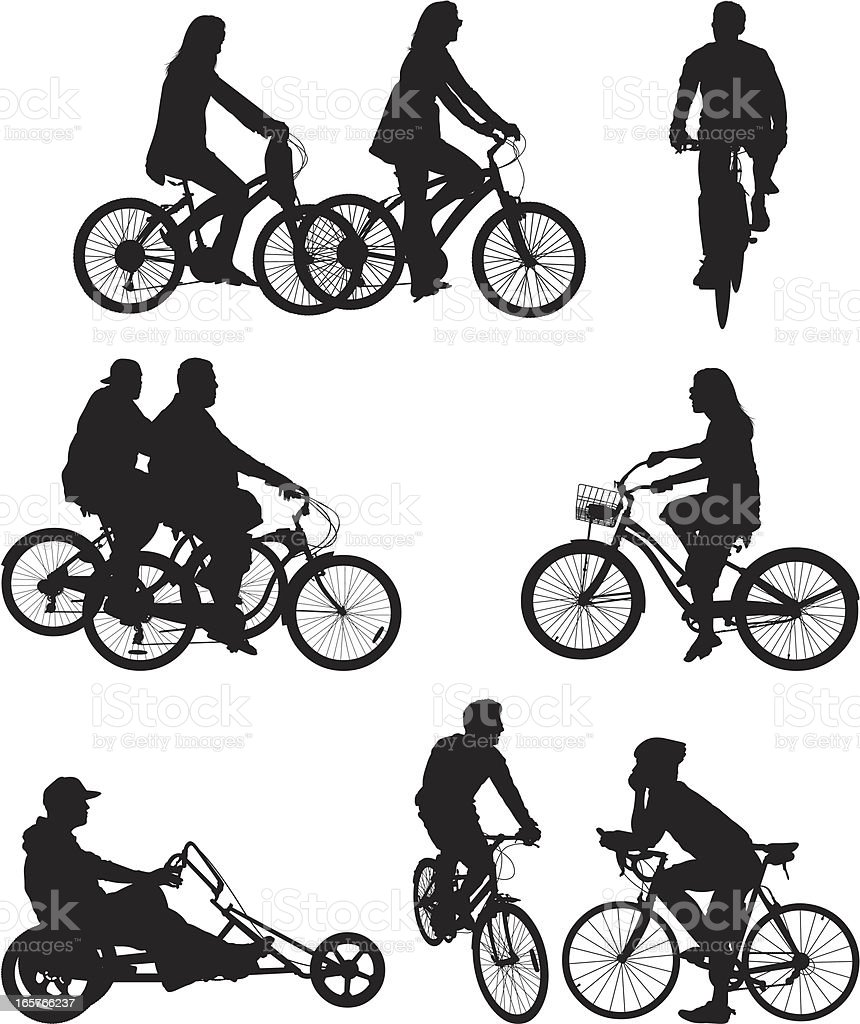 People riding bicycle bikes royalty-free stock vector art