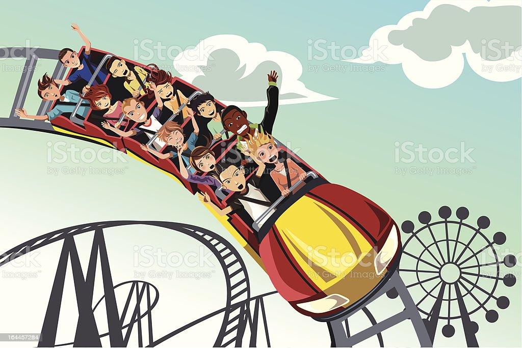 People riding roller coaster vector art illustration