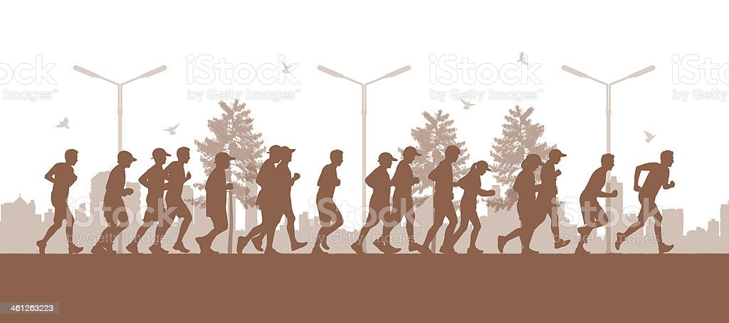 people running in the city parc vector art illustration