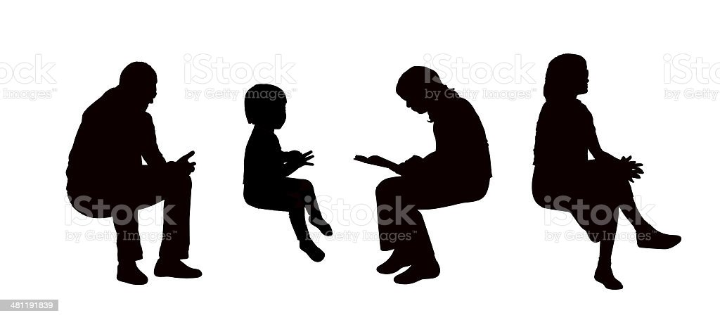 people seated outdoor silhouettes set 8 vector art illustration