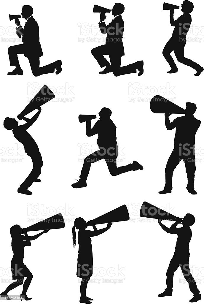 People shouting into bullhorns royalty-free stock vector art