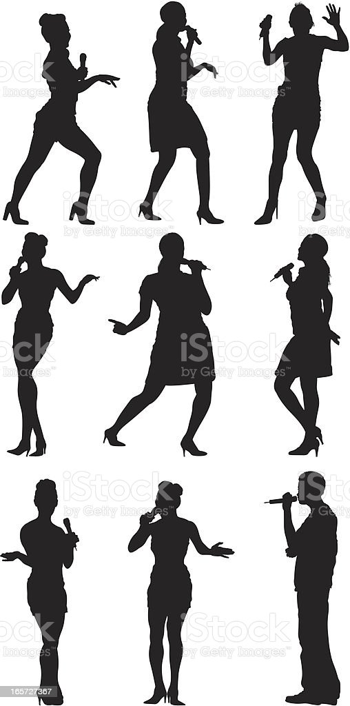 People singing and dancing vector art illustration