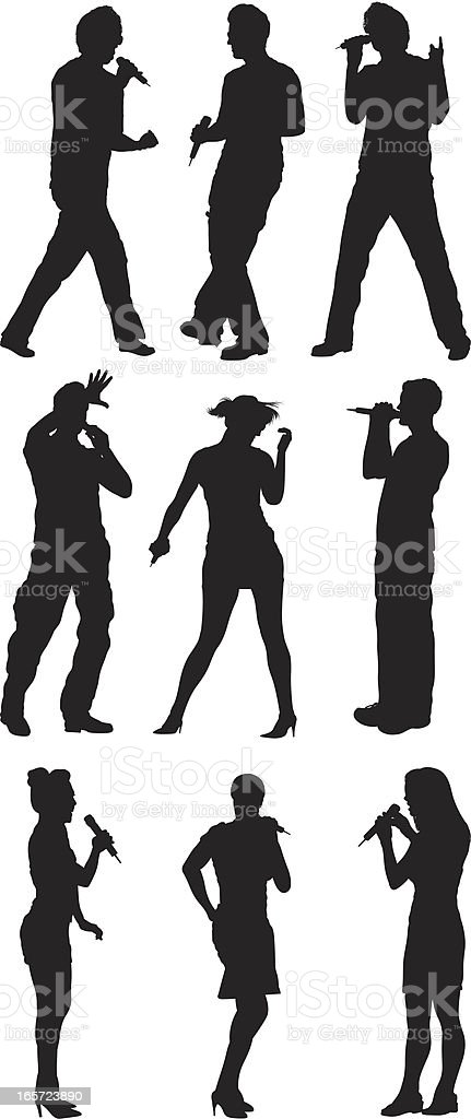 People singing and performing royalty-free stock vector art