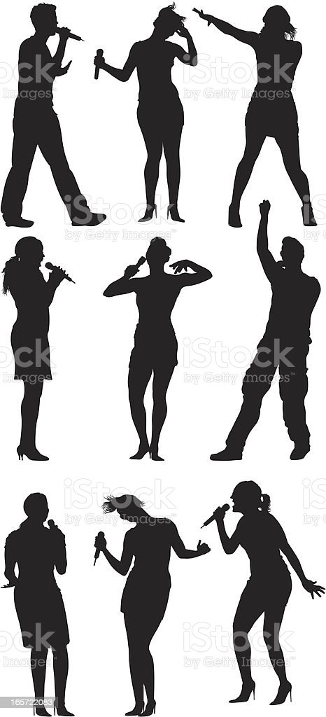 People singing into microphones vector art illustration