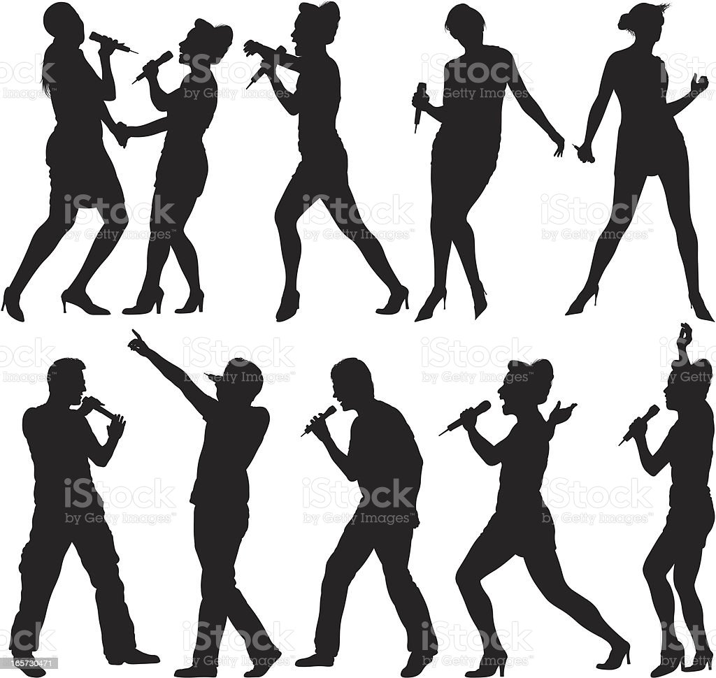 People singing into microphones royalty-free stock vector art