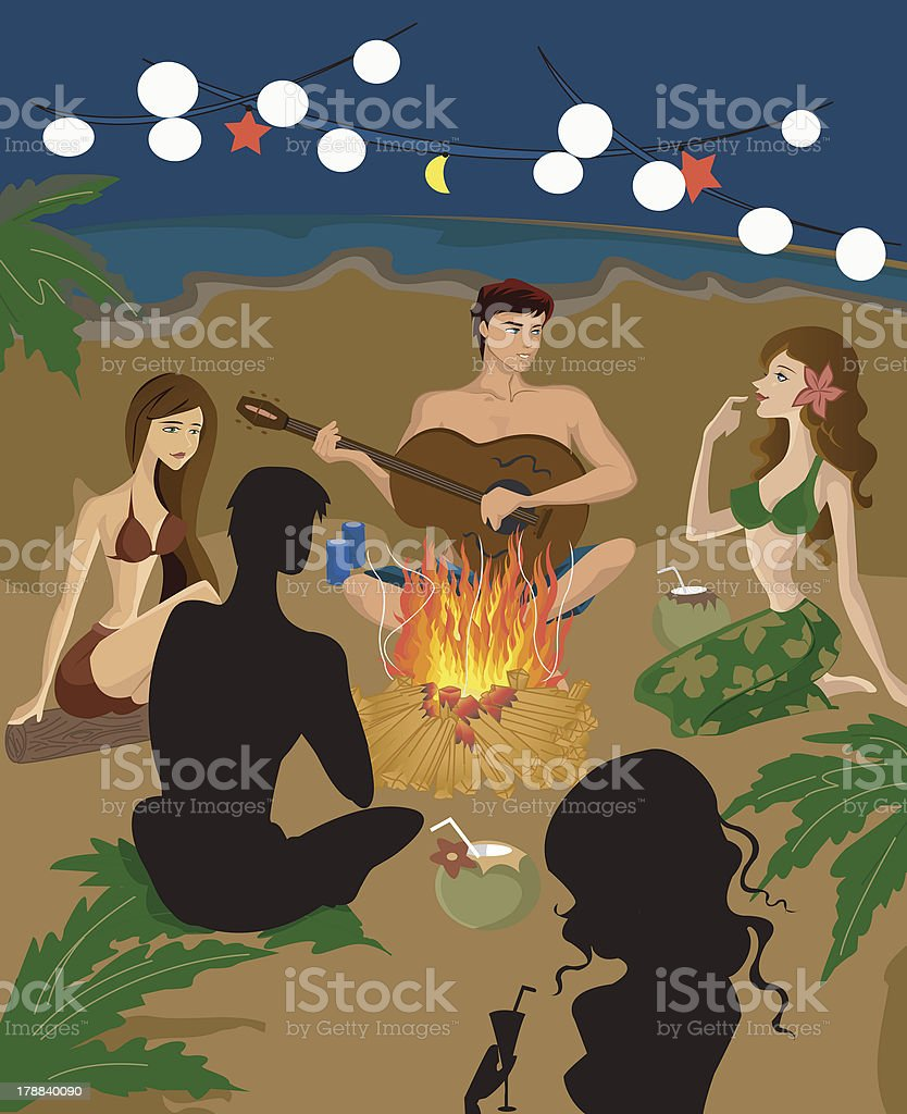 people sitting around a bon fire at the beach royalty-free stock vector art
